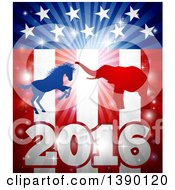 Clipart Of A Silhouetted Political Aggressive Democratic Donkey Or Horse And Republican Elephant Fighting Over A 2016 American Flag And Burst Royalty Free Vector Illustration