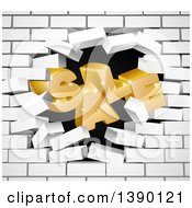 Clipart Of A 3d Word SALE Crashing Through A White Brick Wall Royalty Free Vector Illustration
