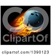 Clipart Of A 3d Fiery Bowling Ball Flying Over Black Royalty Free Vector Illustration