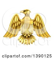 Gold Heraldic American Coat Of Arms Eagle With A Shield