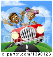 Clipart Of A Happy Black Girl Driving A Boy And Catching Air In A Convertible Car Royalty Free Vector Illustration