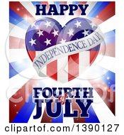 Clipart Of A Fourth Of July Happy Independence Day American Flag Heart Over Flares And Stripes Royalty Free Vector Illustration