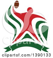 Clipart Of A Red Football Player Throwing Over A Green Banner Royalty Free Vector Illustration by Vector Tradition SM