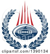 Clipart Of A Blue Football In A Wreath With Red Speed Trails Royalty Free Vector Illustration