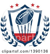 Blue Football Flying In A Shield With Branches And Stars