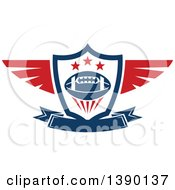Clipart Of A Blue And Red Winged Shield With A Football Stars And Banner Royalty Free Vector Illustration