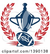 Clipart Of A Blue Football And Trophy In A Red Wreath Royalty Free Vector Illustration by Vector Tradition SM