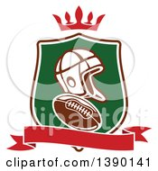 Clipart Of A Helmet And Football In A Shield With A Crown And Blank Banner Royalty Free Vector Illustration by Seamartini Graphics
