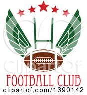 Clipart Of A Winged Football Over A Field Goal Stars And Text Royalty Free Vector Illustration