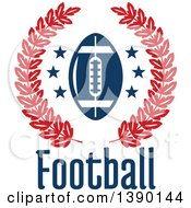 Blue Football And Stars In A Red Wreath Over Text