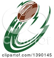 Clipart Of A Football Flying With Green Trails Royalty Free Vector Illustration by Vector Tradition SM