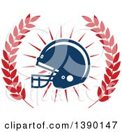 Clipart Of A Football Helmet In A Wreath Royalty Free Vector Illustration