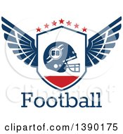 Winged Shield With A Football Helmet And Stars Over Text
