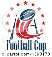 Clipart Of A Football Flying Towards A Field Goal With A Circle Of Stars Over Text Royalty Free Vector Illustration