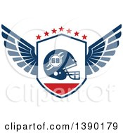 Clipart Of A Winged Shield With A Football Helmet And Stars Royalty Free Vector Illustration