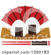 Clipart Of A Sushi Rice Balls Over A Fan And Chopsticks Royalty Free Vector Illustration