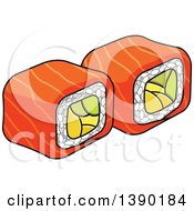Clipart Of Sushi Rolls Royalty Free Vector Illustration by Vector Tradition SM