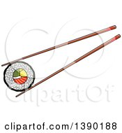 Clipart Of Chopsticks Holding A Sushi Roll Royalty Free Vector Illustration by Vector Tradition SM