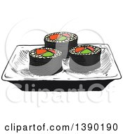 Clipart Of A Sketched Plate Of Sushi Rolls With Salmon Avocado And Ginger Royalty Free Vector Illustration