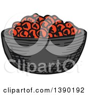 Clipart Of A Sketched Bowl Of Caviar Royalty Free Vector Illustration by Vector Tradition SM
