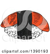 Clipart Of A Sketched Piece Of Nigiri Sushi With Smoked Salmon Or Tuna Royalty Free Vector Illustration