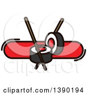 Clipart Of A Sushi Roll And Chopsticks Design Royalty Free Vector Illustration by Vector Tradition SM
