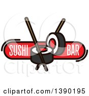Clipart Of A Sushi Roll And Chopsticks Design With Text Royalty Free Vector Illustration