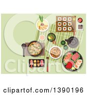 Clipart Of Fresh Japanese Cuisine With Maki And Nigiri Sushi Sashimi Set With Salmon Teriyaki Tuna Cuttlefish And Scallops Miso Soup With Fried Pork Green Tea And Soup With Tofu And Shrimps Beef With Mushrooms And Vegetables Sauces And Condiments