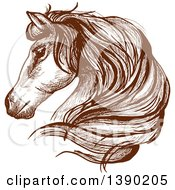 Clipart Of A Brown Sketched Horse Head Royalty Free Vector Illustration by Vector Tradition SM