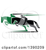 Clipart Of Black And Green Silhouetted Jockeys Racing Horses Royalty Free Vector Illustration