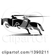 Clipart Of Black Silhouetted Jockeys Racing Horses Royalty Free Vector Illustration