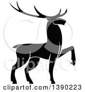 Clipart Of A Black Silhouetted Bull Elk Royalty Free Vector Illustration