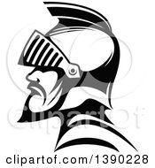 Clipart Of A Black And White Profiled Medieval Knight Royalty Free Vector Illustration by Seamartini Graphics
