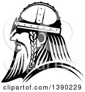 Clipart Of A Black And White Profiled Viking Warrior Royalty Free Vector Illustration