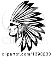 Clipart Of A Black And White Profiled Native American Indian Warrior Royalty Free Vector Illustration