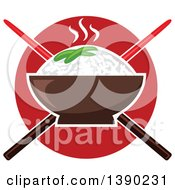 Clipart Of A Bowl Of Hot Rice Over Crossed Chopsticks And A Red Circle Royalty Free Vector Illustration