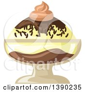 Clipart Of A Vanilla And Chocolate Ice Cream Sundae Dessert Royalty Free Vector Illustration by Vector Tradition SM