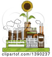 Clipart Of A Sketched Eco Friendly Factory Complex With A Sunflower Royalty Free Vector Illustration by Vector Tradition SM