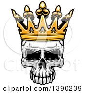 Clipart Of A Human Skull Wearing A Crown Royalty Free Vector Illustration