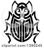 Clipart Of A Black And White Tribal Styled Beetle Royalty Free Vector Illustration by Vector Tradition SM