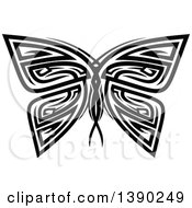 Clipart Of A Black And White Tribal Styled Butterfly Or Moth Royalty Free Vector Illustration by Seamartini Graphics