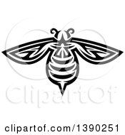Clipart Of A Black And White Tribal Styled Bee Royalty Free Vector Illustration by Vector Tradition SM