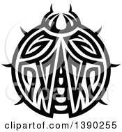 Clipart Of A Black And White Tribal Styled Ladybug Royalty Free Vector Illustration by Vector Tradition SM