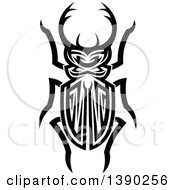 Black And White Tribal Styled Stag Beetle