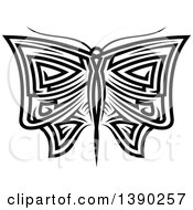 Clipart Of A Black And White Tribal Styled Butterfly Or Moth Royalty Free Vector Illustration by Vector Tradition SM