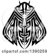 Clipart Of A Black And White Tribal Styled Moth Royalty Free Vector Illustration by Vector Tradition SM