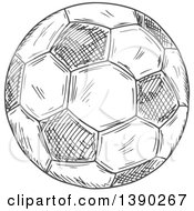 Gray Sketched Soccer Ball