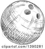 Poster, Art Print Of Gray Sketched Bowling Ball