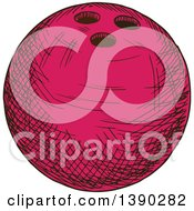 Poster, Art Print Of Sketched Pink Bowling Ball