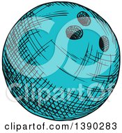 Poster, Art Print Of Sketched Blue Bowling Ball